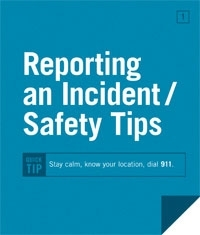 Reporting an incident / safety tips